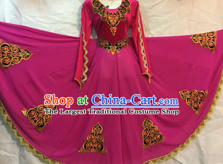 Chinese Traditional Uigurian Ethnic Costumes Xinjiang Uyghur Minority Folk Dance Rosy Dress for Women