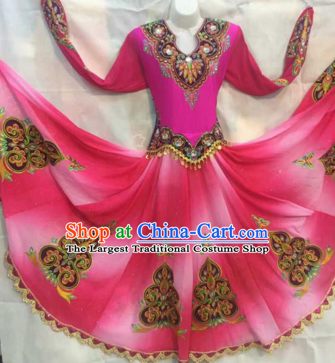 Chinese Traditional Uigurian Nationality Ethnic Costumes Xinjiang Uyghur Folk Dance Rosy Dress for Women