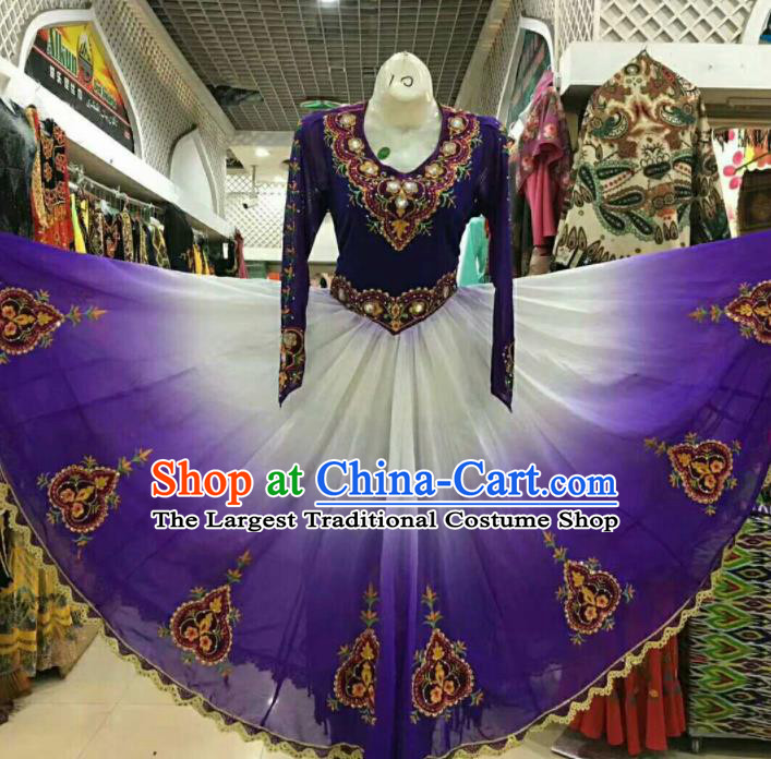 Chinese Traditional Uigurian Nationality Purple Ethnic Costumes Xinjiang Uyghur Folk Dance Dress for Women