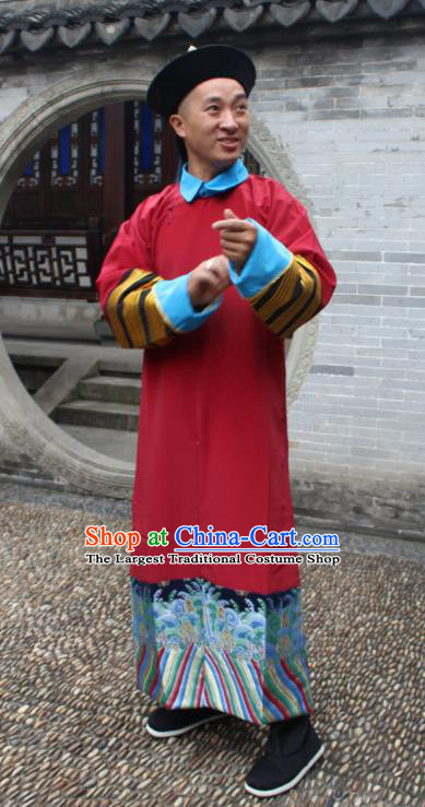 Chinese Traditional Ancient Qing Dynasty Court Eunuch Embroidered Costume for Men