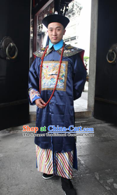 Chinese Traditional Ancient Qing Dynasty Royal Highness Embroidered Costume for Men