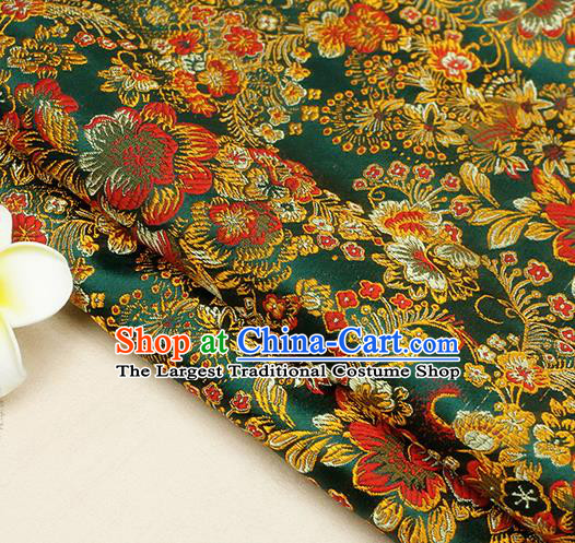 Chinese Traditional Green Brocade Cheongsam Silk Fabric Material Classical Pattern Design Satin Drapery