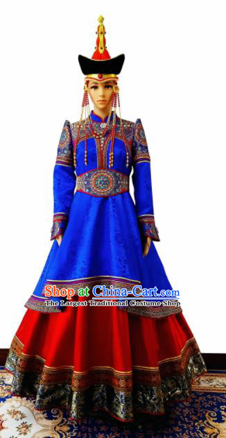 Chinese Traditional Ethnic Costumes Mongolian Minority Nationality Blue Dress for Women