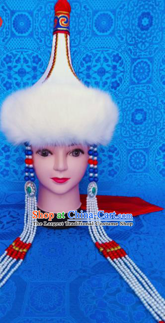 Chinese Traditional Ethnic Hat Mongolian Minority Nationality Princess White Hat for Women