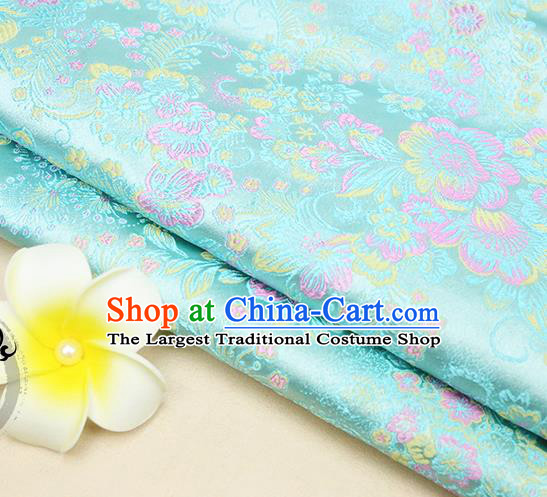 Chinese Traditional Blue Brocade Cheongsam Silk Fabric Material Classical Pattern Design Satin Drapery