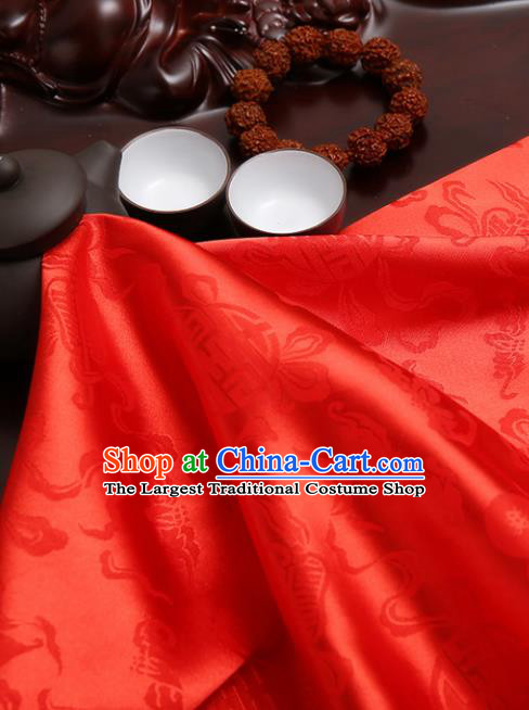 Chinese Traditional Brocade Cheongsam Red Silk Fabric Material Classical Pattern Design Satin Drapery