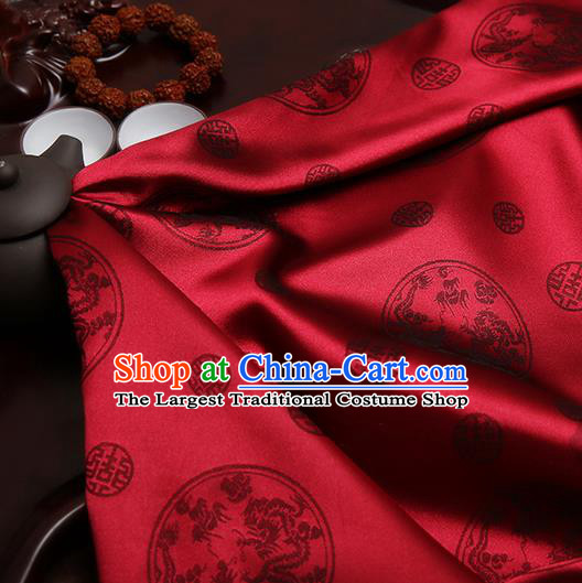 Chinese Traditional Brocade Cheongsam Classical Dragons Pattern Design Wine Red Silk Fabric Material Satin Drapery