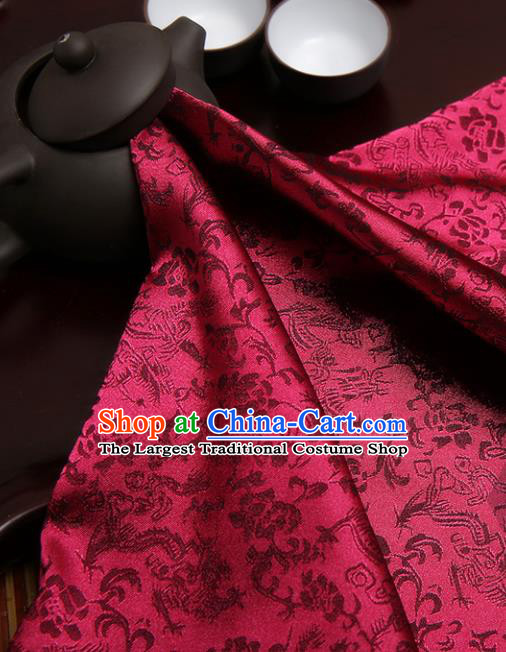 Chinese Traditional Amaranth Brocade Classical Dragons Pattern Design Silk Fabric Material Satin Drapery