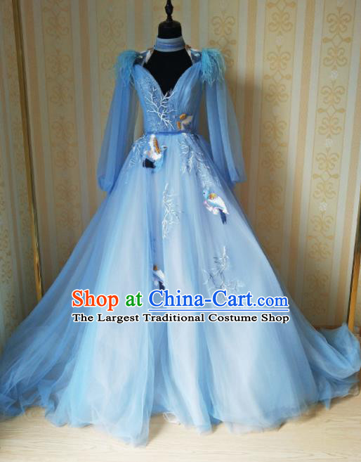 Top Grade Modern Dance Embroidered Blue Full Dress Stage Performance Costume for Women