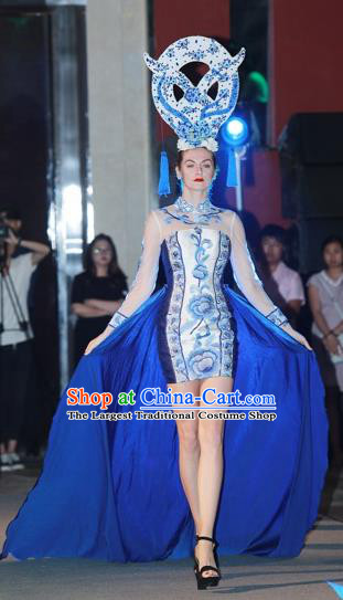 Chinese Style Modern Dance Qipao Dress Stage Performance Costume for Women