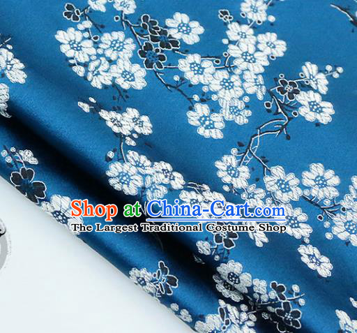 Chinese Traditional Blue Brocade Classical Plum Blossom Pattern Design Silk Fabric Material Satin Drapery