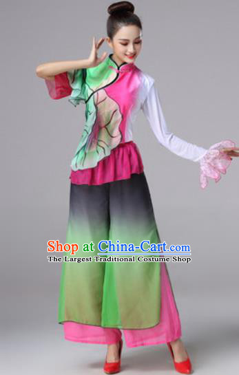 Traditional Chinese Classical Folk Dance Clothing Stage Performance Fan Dance Costumes for Women