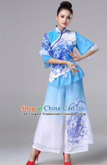 Traditional Chinese Classical Folk Dance Blue Clothing Stage Performance Fan Dance Costumes for Women