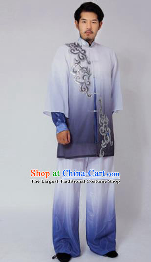 Traditional Chinese Tai Chi Kung Fu Navy Clothing Martial Arts Costumes for Men