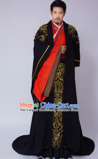 Traditional Chinese Ancient Han Dynasty Emperor Embroidered Costumes for Men