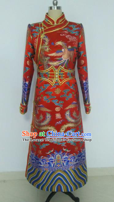 Chinese Traditional Red Ethnic Costumes Mongolian Minority Nationality Bride Dress for Women