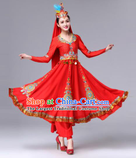 Chinese Traditional Ethnic Costumes Uyghur Minority Nationality Red Dress for Women