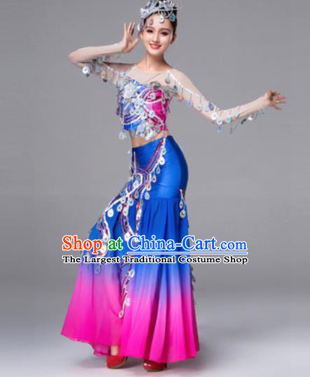 Traditional Chinese Peacock Dance Blue Dress Stage Performance Classical Dance Costumes for Women