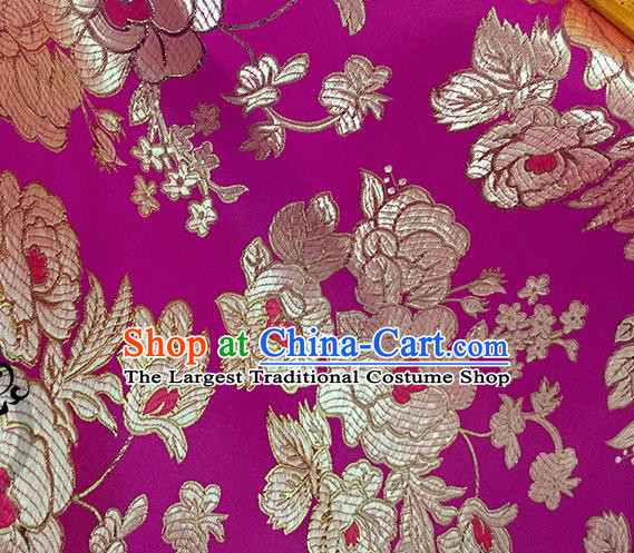 Chinese Traditional Purple Brocade Classical Peony Pattern Design Silk Fabric Material Satin Drapery
