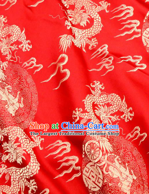 Chinese Traditional Red Brocade Classical Fire Dragons Pattern Design Silk Fabric Material Satin Drapery