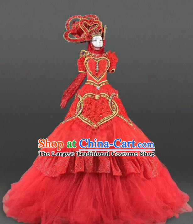 Top Grade Modern Dance Red Dress Ballroom Court Costume for Women