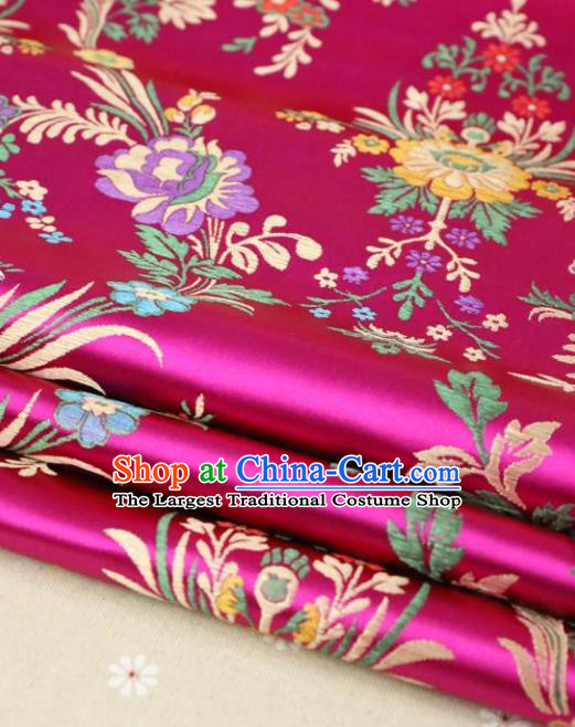 Asian Chinese Traditional Fabric Material Qipao Rosy Brocade Classical Begonia Pattern Design Satin Drapery