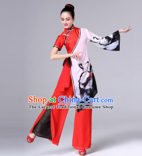 Traditional Chinese Classical Dance Red Dress Stage Performance Folk Dance Yangko Costume for Women