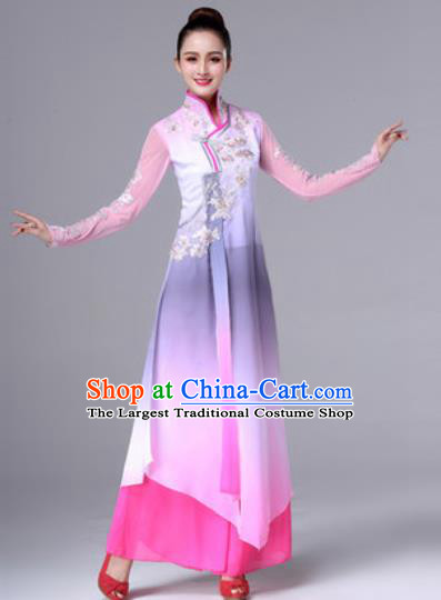 Traditional Chinese Classical Dance Pink Dress Stage Performance Folk Dance Costume for Women