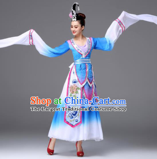 Traditional Chinese Classical Dance Blue Dress Ancient Peri Dance Costume for Women