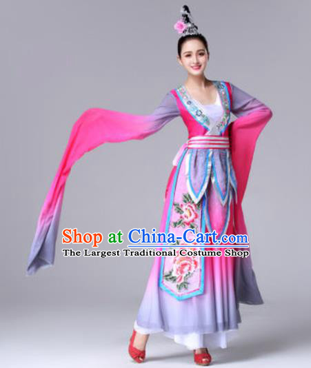 Traditional Chinese Classical Dance Rosy Dress Ancient Peri Dance Costume for Women