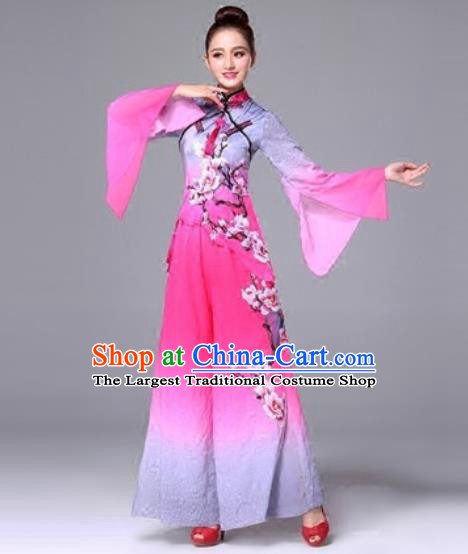 Traditional Chinese Classical Dance Pink Clothing Yangko Dance Costume for Women