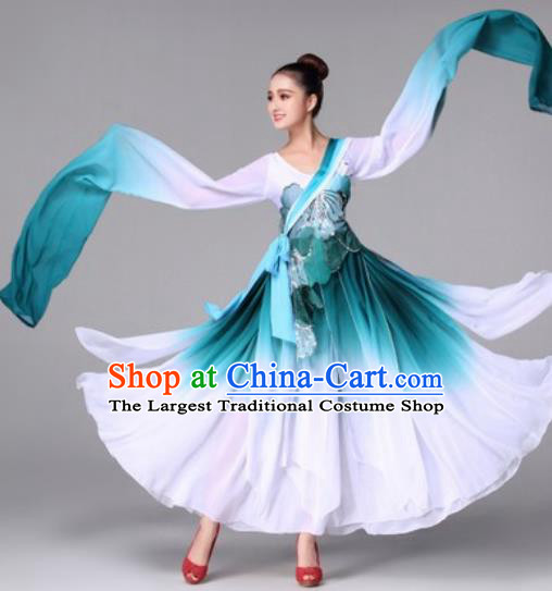 Traditional Chinese Classical Dance Green Dress Fan Dance Costume for Women