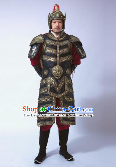 Traditional Chinese Ancient Qin Dynasty General Costumes Helmet and Body Armour for Men