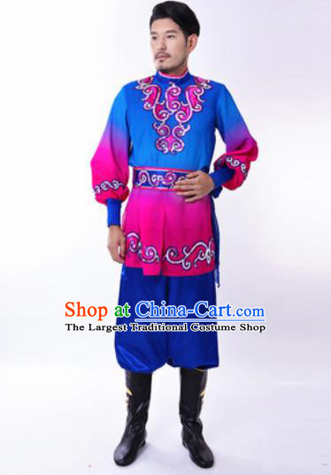 Chinese Traditional Folk Dance Costumes Uyghur Minority Dance Blue Clothing for Men