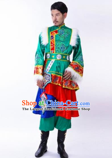 Chinese Traditional Folk Dance Green Costumes Tibetan Minority Dance Clothing for Men