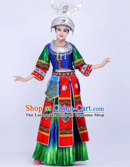 Chinese Traditional Miao Ethnic Costumes Hmong Minority Nationality Folk Dance Green Dress for Women