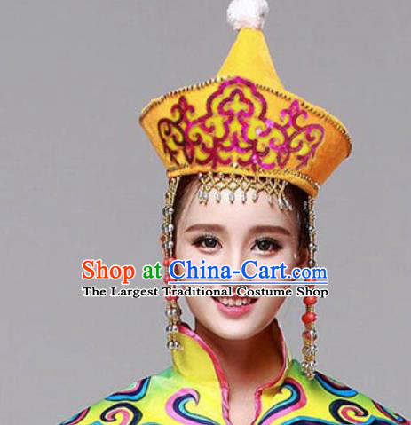 Chinese Traditional Mongolian Ethnic Hats Mongol Minority Nationality Folk Dance Headwear for Women