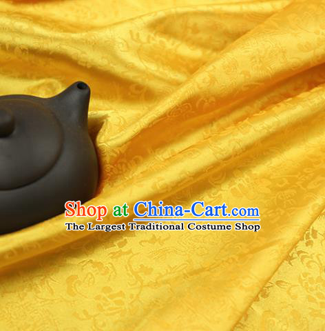 Asian Yellow Brocade Chinese Traditional Silk Fabric Material Classical Pattern Design Satin Drapery