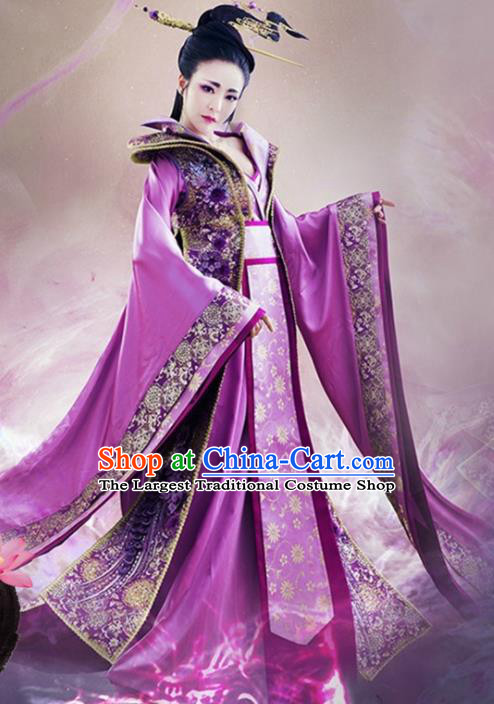 Chinese Traditional Purple Hanfu Dress Ancient Tang Dynasty Imperial Concubine Embroidered Costumes for Women
