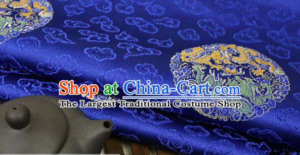 Royalblue Brocade Chinese Traditional Silk Fabric Material Classical Dragon Pattern Design Satin Drapery