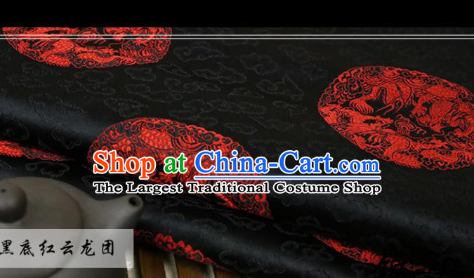 Black Brocade Chinese Traditional Silk Fabric Material Classical Dragon Pattern Design Satin Drapery