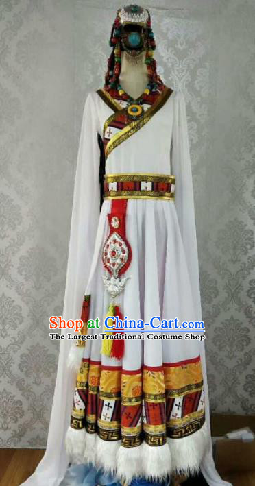 Chinese Traditional Zang Nationality Ethnic Costumes Tibetan Folk Dance White Dress for Women