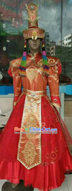 Chinese Traditional Mongol Nationality Red Costumes Mongolian Folk Dance Ethnic Dress for Kids