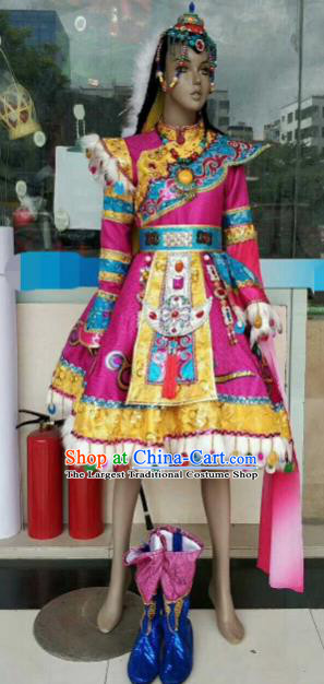 Chinese Traditional Zang Nationality Rosy Costumes Tibetan Folk Dance Ethnic Dress for Kids