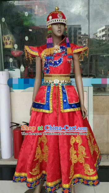 Chinese Traditional Mongol Nationality Red Costumes Mongolian Folk Dance Ethnic Dress for Women
