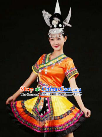 Chinese Traditional Miao Nationality Orange Costumes Hmong Folk Dance Ethnic Dress for Women