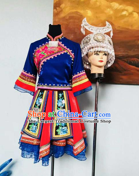 Chinese Traditional Miao Nationality Ethnic Costumes Hmong Folk Dance Royalblue Dress for Women