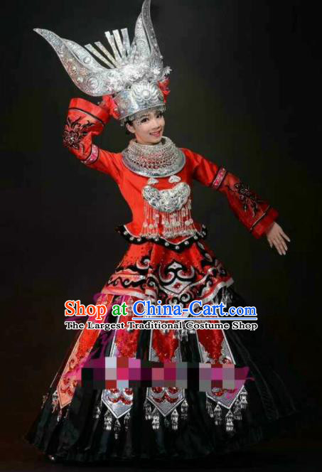 Chinese Traditional Miao Nationality Wedding Costumes Hmong Folk Dance Red Ethnic Dress for Women