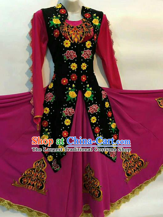 Chinese Traditional Uyghur Nationality Ethnic Costumes Uyghurian Folk Dance Purple Dress for Women
