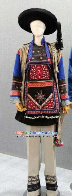 Chinese Traditional Bai Nationality Black Costumes Folk Dance Ethnic Dress for Women